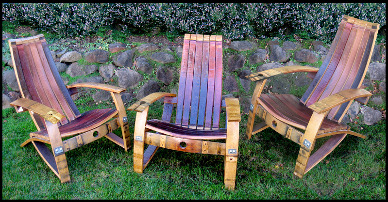 Adirondack Chair From French Oak Wine Barrel Staves